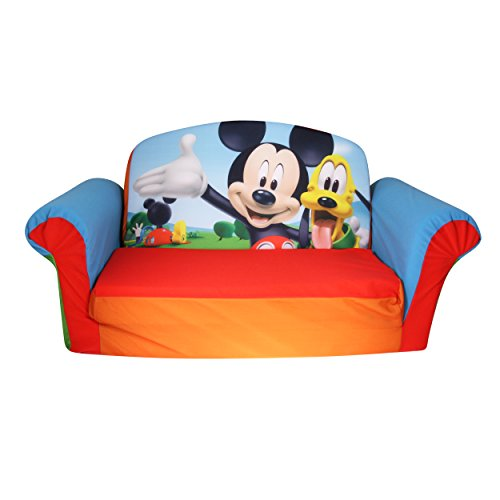 Marshmallow Furniture, Children's Upholstered 2 in 1 Flip Open Sofa, Disney Mickey Mouse Club House, by Spin Master