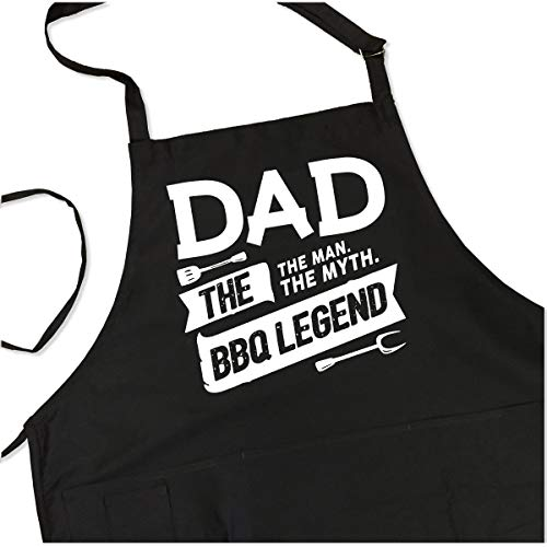 BBQ Grill Apron - Dad. The Man. The Myth. The Legend - Funny Apron For Dad - 1 Size Fits All Chef Apron High Quality Poly/Cotton 4 Utility Pockets, Adjustable Neck and Extra Long Waist Ties