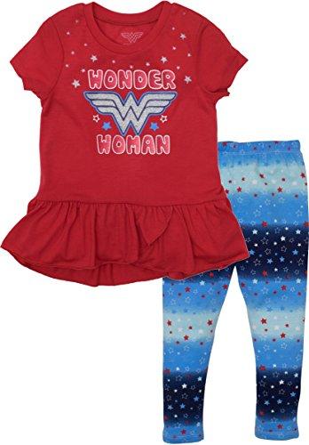 Warner Bros. Wonder Woman Toddler Girls' High-Low Tunic Shirt & Leggings Set (4T)
