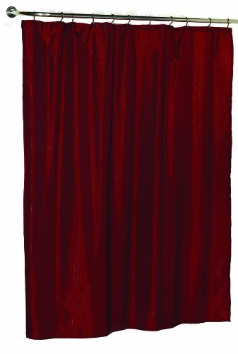 Burgundy Polyester Fabric (Carnation Home Fashions 100-Percent Polyester Dobby Fabric 70 by 72-Inch Shower Curtain, Standard, Lauren, Burgundy)