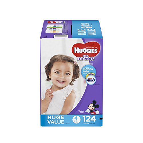 HUGGIES LITTLE MOVERS Diapers, Size 4 (22-37 lb.), 124 Ct. (Packaging May Vary), Baby Diapers for Active Babies (Huggies Little Movers Diaper Pants Size 4)