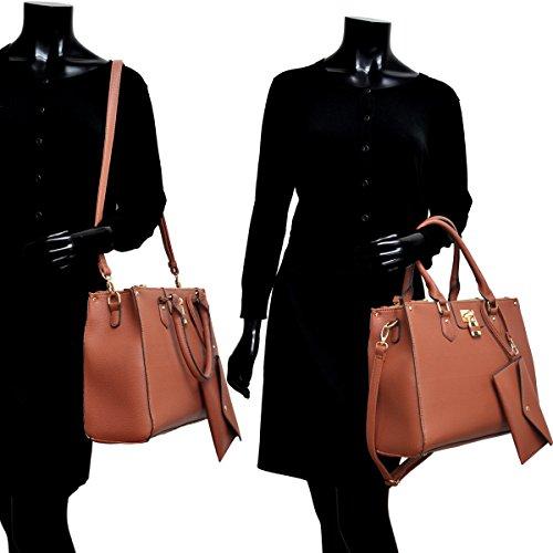 Designer Handle Purse Fn6486 Dasein Satchel Top Shoulder Coin Handbag Bag Women's Tote Coral Padlock Leather w f5XHqXRw