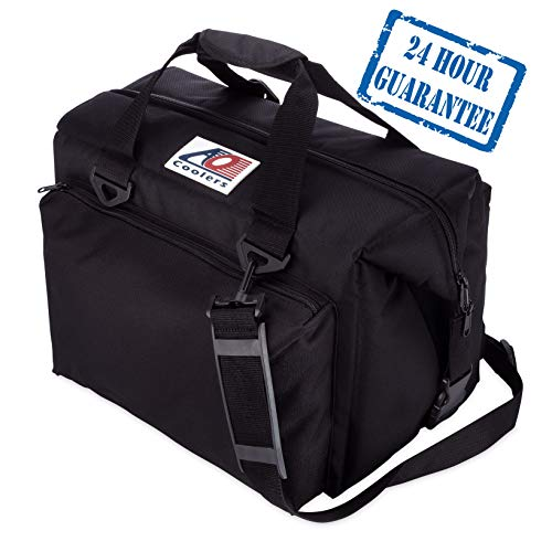 AO Coolers Traveler Original Soft Cooler with High-Density Insulation, Black, 24-Can