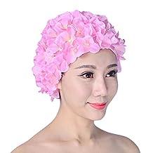 MOMOSTAR Swim cap Floral Petal Retro Style Bathing Caps for Women