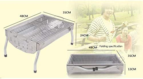 Barbecue Grill-Petit Pied Court en Acier Inoxydable Barbecue Four à Charbon de Bois Portable Pliant Grill Camping en Plein air Maison @