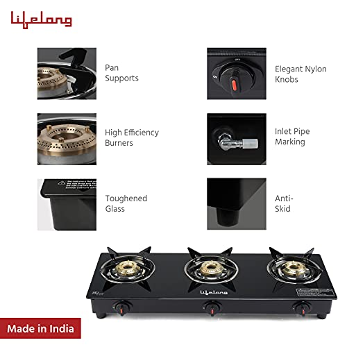 Lifelong LLGS303 Toughened Glass Top 3 Burner Gas Stove with Automatic Ignition (1 Year Warranty, Black)