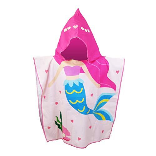 Childrens Swimming Towels (White Kaiman Kids Hooded Beach, Pool & Bath Towel Soft Microfiber Multi-Purpose Poncho Swim Cover Changing Robe w/Fun Characters (Blue Tail)