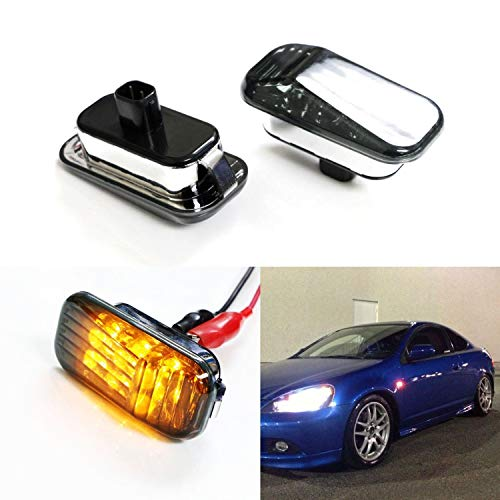 (iJDMTOY Smoked Lens Amber LED Front Side Marker Lights For Honda Accord Civic CR-X S2000 Acura Integra RSX NSX etc, Includes (2) JDM Style Sidemarkers)