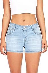 Wax Women\'s Juniors Classic Blue Denim Shorts (M, Light Denim)