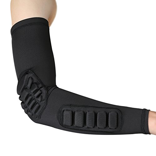 Arm Compression Sleeve Elbow Pads Support Basketball Shooter Sleeve for Men Women Elbow Brace for Baseball Football Softball Cycling Fishing Running Obstacle Course Races (XL)