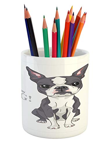 - Ambesonne Boston Terrier Pencil Pen Holder, Naive Puppy Tiny Dog Breed Standing by The I Love My Dog Message, Printed Ceramic Pencil Pen Holder for Desk Office Accessory, Grey Coral and White