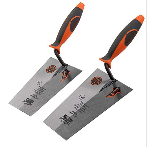 Body Carbon Steel (2 Pieces Square Trowels, Rubber Handle Carbon Steel Body, Gray Spoon Trowel Light Knife, Putty Hook Knife, Scraper, Building Decoration Tools)