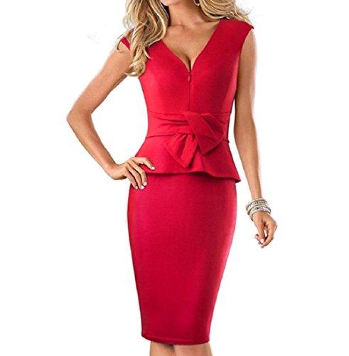 Semplicità Bodycon Magre Stretto V Partito Rosso Vestito Collo donne Cocktail Di Coolred qE0A6n