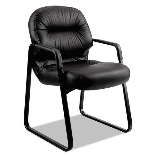 HON 2090 Pillow-Soft Series Leather Guest Arm Chair, Black