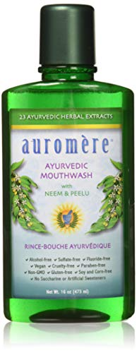 Ayurvedic Mouthwash by Auromere - Fluoride-Free, Alcohol-Free, Natural, with Neem and Vegan - 16 fl oz (Herbal Mouthwash)