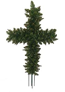 Northlight  Unlit Green Pine Artificial Cross Shaped Wreath with Ground Stakes, 22""