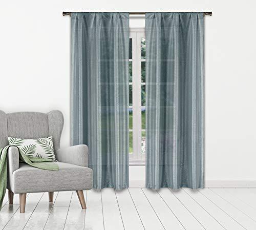 Home Maison Mariella Pole Top Metallic Semi-Sheer Window Curtain Pair Drape for Living Room & Bedroom-Set of 2 Panels, 38 X 84 Inch, Slate Blue (Lace Patio Panels)