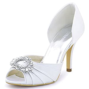 ElegantPark Women High Heel Pumps Peep Toe Brooch Ruched Satin Wedding Bridal Evening Prom Shoes