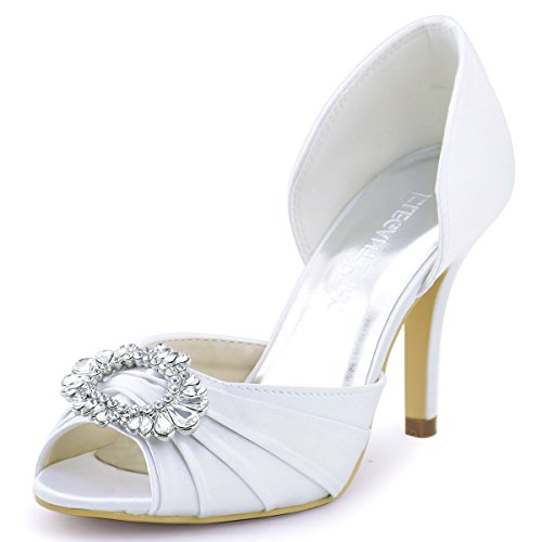 ElegantPark A2136 Women High Heel Pumps Peep Toe Brooch Ruched Satin Bridal Wedding Shoes White US 7