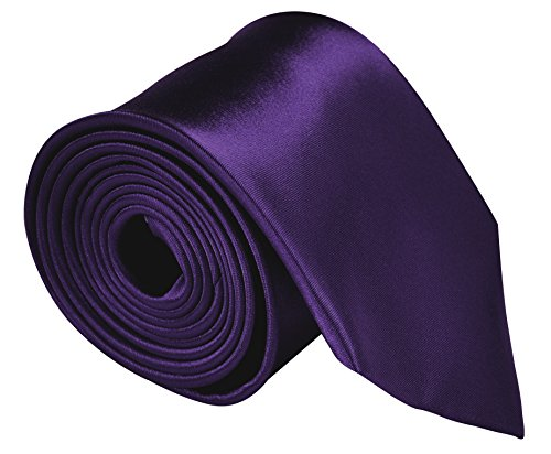- Neckties For Men 3.5 Microfiber Woven Satin Solid Color Ties - Dark Purple