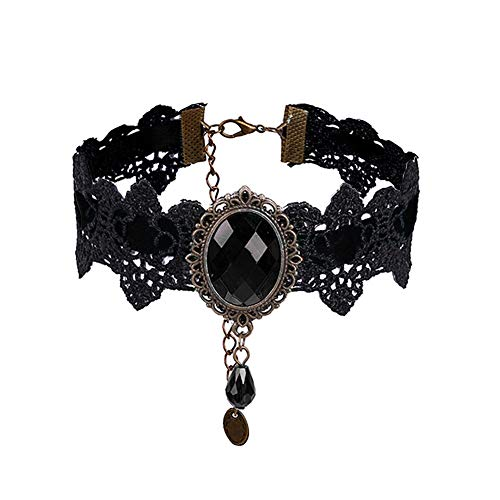 Eternity J. Retro Handmade Craft Lace Royal Court Vampire Choker Gothic Necklace Bracelet Black Pendant Chain