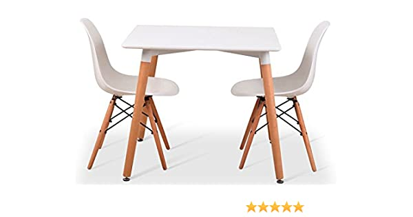 Noorsk Design Conjunto Mesa 80 + 2 sillas Tower Blancas: Amazon.es ...