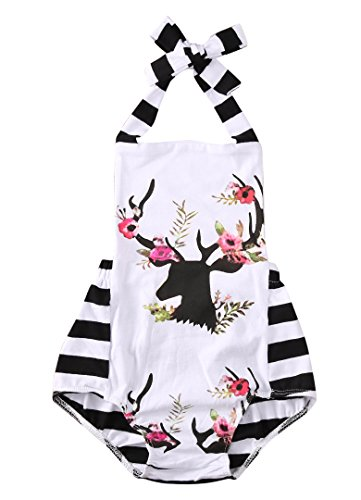 Newborn Baby Girl Clothes Xmas Reindeer Bodysuit Romper Playsuit Jumpsuit Outfit (0-6 Months, White)