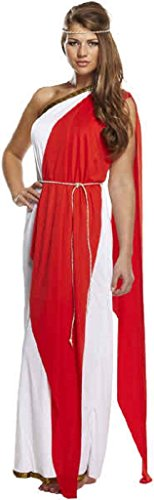 Rimi Hanger Women's Red & White Greek Goddess Halloween Fancy Toga Dress Costume Outfit (One Size Fits US 4-10, Red White) (Greek Goddess Outfits)