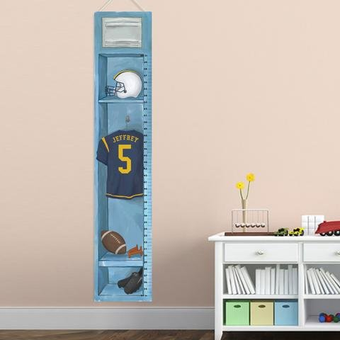 (Personalized Sports Locker Growth Chart for Boys - Football Locker)