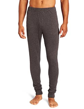 American Essentials Men's Relaxed Long John Pajama, Charcoal Heather, Medium