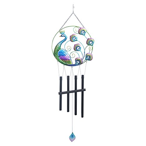 Comfy Hour 36″ Colorful Metal Art Peacock Wind Chime