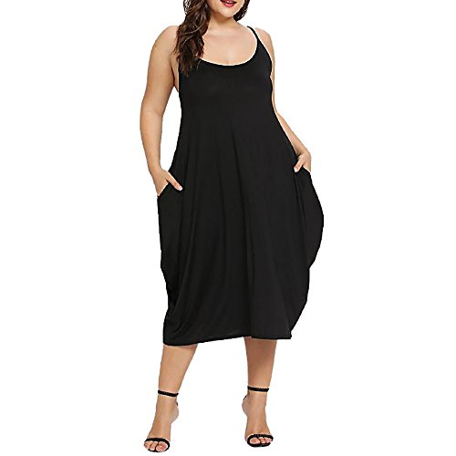 (Women's Plus Size Dresses Sleeveless Crew Neck Baggy Loose Summer Dress with Pockets Black)