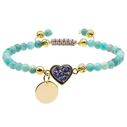 TUMBEELLUWA Beads Bracelets Faceted Stone 4mm Healing Crystal Bracelet Heart Shape Druzy Adjustable Handmade Jewelry for Women,Amazonite
