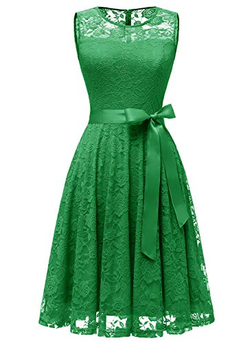 Dressystar 0009 Floral Lace Dress Short Bridesmaid Dresses with Sheer Neckline Green L