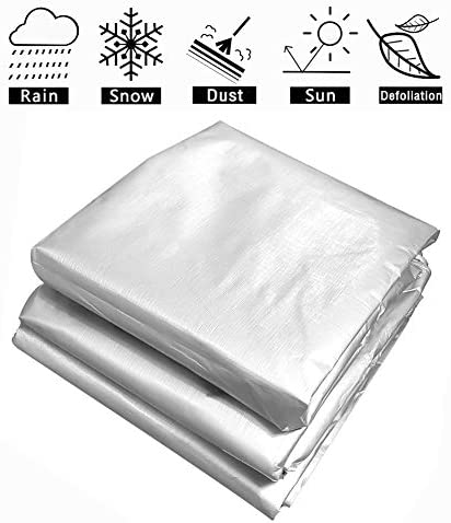 FQJYNLY 防水シート防塵性および耐紫外線性のあるミシン目付きの屋外キャンプカバー、18サイズ (Color : Silver, Size : 3X6m)
