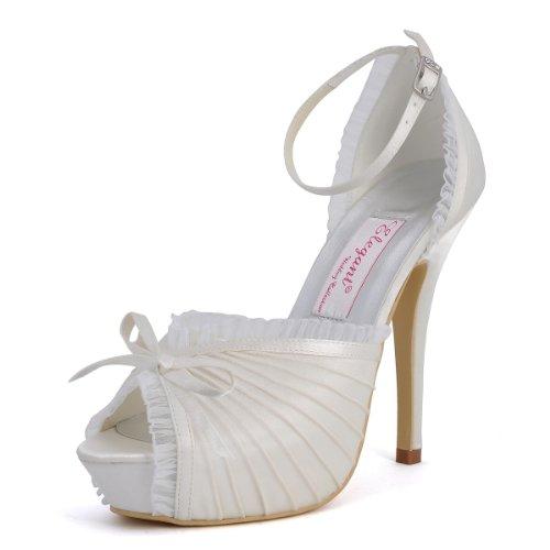 ElegantPark EP11056-IP Women's Peep Toe Platform High Heels Satin Evening Prom Wedding Bridal Pumps Shoes Ivory US 8