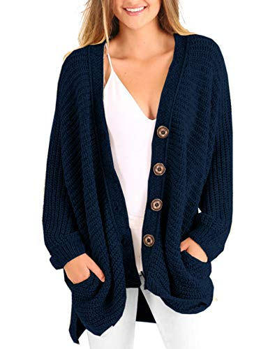 Womens Plus Size Cardigan Oversized Cable Knit Button Down Chunky Sweater Coats with Pockets Navy Blue