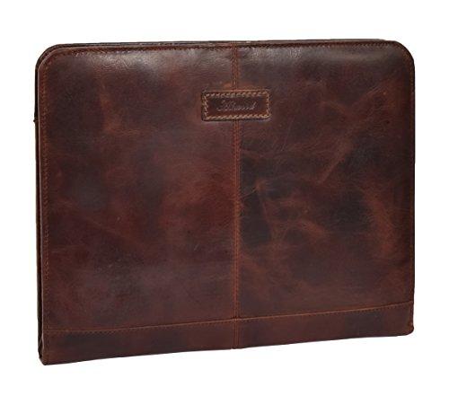 Folio Pelle Porta Anelli Custodia ad Raccoglitore in Portafoglio Documenti Marrone Staccabile Falkirk qaHw7Bd