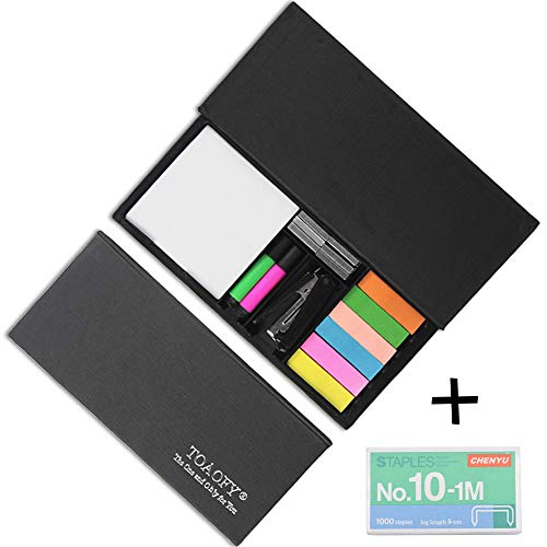 (TOAOFY Office Supplies 5 in 1 Desk Organizer Set Super Sticky Notes,Stapler with A Box of Staples,2 Mini Marking Pens-Black(ONLY001))