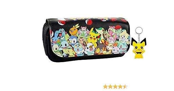 T-MIX Pokemon Pikachu Estuche de lápices Anime Gran Capacidad Doble Cremallera Lápiz Bolsa Cartera Bolsa de papelería (Colour10): Amazon.es: Juguetes y juegos