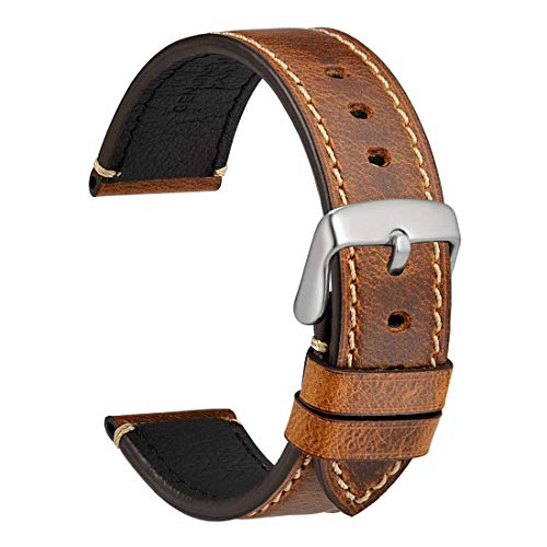 (WOCCI Watch Band 22mm, Premium Saddle Style Vintage Leather Watch Strap with Silver Buckle (Gold Brown) )