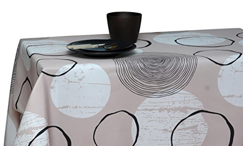 60 x 120-Inch Rectangular Tablecloth Beige Moonlight Shell, Stain Resistant, Washable, Liquid Spills, Seats 10 to 12 People (Other Size: 63