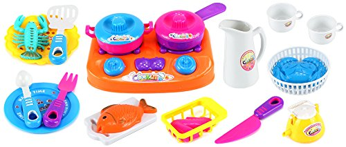 Disney Cool Bake Oven - Happy Dinner Time Pretend Play Toy Kitchen Play Set w/ Toy Stove, Plates, Utensils, Food