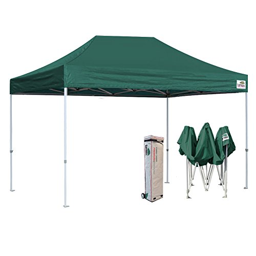 Eurmax New Pop up Canopy Commercial Outdoor Wedding Party Tent Instant Folding Gazebo W/Rolling Bag (Forest Green, 10 x 15)