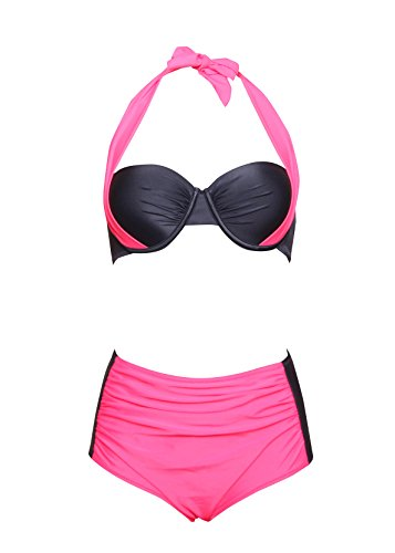 High Waisted Two Pieces Swimwear Halter Push Up Bikini Pin Up-KJ5332-RD5