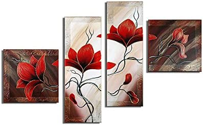 Noah Art-Rustic Flower Art, Red Tulip Flower Picture 100 Hand Painted Floral Artwork Modern Abstract Flower Oil Paintings on Canvas, 4 Piece Framed Flower Wall Art for Bedoom Wall Decor