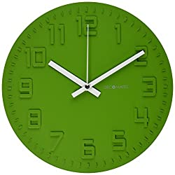 DecoMates Non-Ticking Silent Wall Clock, Green Tea Disc