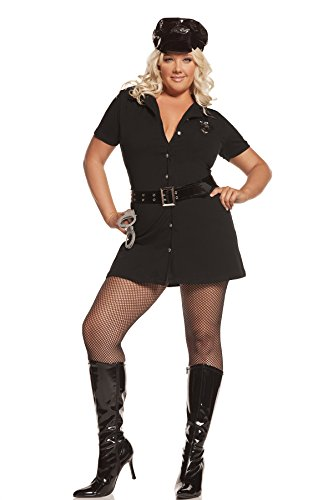 Sexy Women's Officer Arrest Me Adult Roleplay Police Costume, 1X/2X, Black (Swat Agent Sexy Costume)