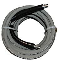 "JGB Enterprises Eagle Hose Eagleflex II 5400 Wrapped Grey Nitrile RMA Class B Pressure Washer Hose Assembly, 3/8"" NPT Male X NPT Male Swivel with Guards, 5400 psi Maximum Pressure, 50' Length, 3/8"" Hose ID"