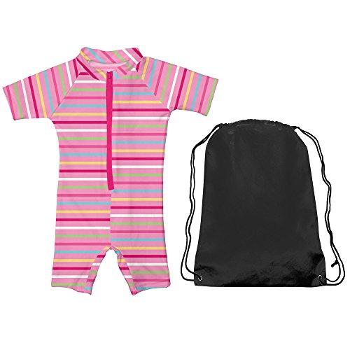 Iplay One-Piece Swimsuit Girls Sun Protection Kids Sunsuit Pink Stripe Sz 3T